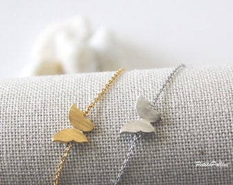 Butterfly Bracelet in Silver/ Gold. Small. Garden. Nature. Dainty and Modern. Bridesmaid Gift. Gift For Her (PBL-25)