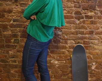 SALE (was 32) Green Washed Silk Blouse w/ Flounce