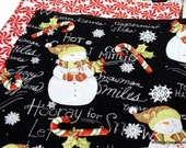 Chalkboard Snowman & Candy Cane Wintery Cloth Napkins  // Set of 4