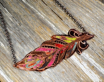 Urban Tribal Feather Necklace : Hand Engraved and Enameled Classic Tattoo Flash Inspired Necklace - ReaganJuel