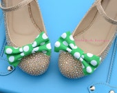 READY to SHIP! 1 Pair Green Polka Dot Fabric Bow Shoe Clips - Girls Wedding Accessories, Bride, Bridesmaid, Wedding Shoes, Birthday Party