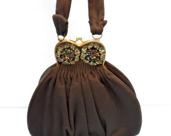 Vintage 1940's/Charlet Purse/Brown Wool and Rhinestones Purse/40's Brown Wool Purse/40's Brown Wool Handbag/Rhinestone Trim/Charlet