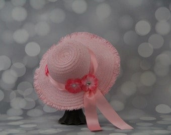 Tea Party Hat; Pink Easter Bonnet with Satin Ribbon; Girls Sun Hat; Pink Easter Hat; Sunday Dress Hat; Derby Hat; 16217