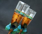 Peacock Glasses, Wedding Glasses, Champagne Glasses, Hand Painted Set of 2