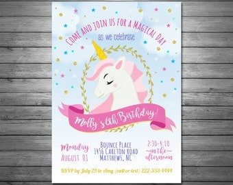 Unicorn Party Invitation, Unicorn Birthday Invitation, Unicorn Party  Printable, Rainbow Party, Gold  Invitation For Party Template
