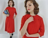 Vintage Forties Dress - 1940s Red Rayon Dress - 40s Day Dress  with Peter Pan Collar - Small 40s Dress