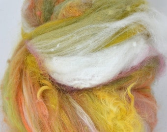 Farm Wool Art Batt for Spinning and Felting Fiber Fleece Textured Chunky Colorway- Wild West