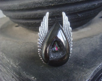 One of a Kind Black Titanium Druzy Angel Wing Ring AKA The Superhero Ring