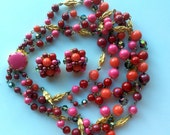 Red Glass and Aurora Borealis Necklace and Earrings - Multi Strand