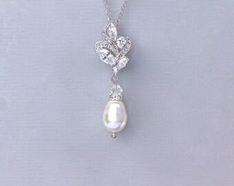 Pearl Necklace, Bridal Necklace, Silver Wedding Jewelry, Silver Necklace, Pearl Bridal Jewelry FLEUR