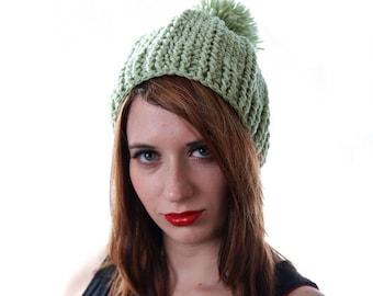 Green Elf Hat, Winter Pom Pom Hat, Pointy Elf Hat, Winter Elf Hat, Green Winter Beanie, Green Cabled Hat, Elf Cosplay, Elven Hat, Elf Beanie
