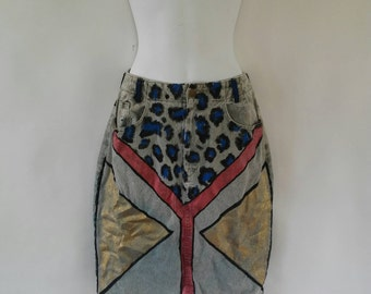 Hand Painted Dyed Denim London Rock Skirt Size-9