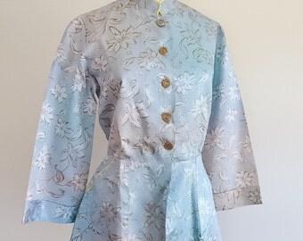 1940s Blue mandarin collar peplum satin top / 40s pyjama blouse - S