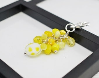 Yellow Purse Charm, Yellow Beaded Purse Charm, Purse Charm, Beaded Purse Charm, Yellow Keychain, Zipper Pull, Gift For Her, Free Shipping
