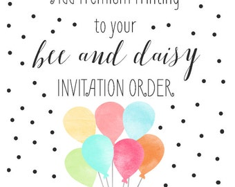 Add on PRINTING to any BeeAndDaisy digital invitation purchase - Your choice of quantity, paper, corners, and envelopes
