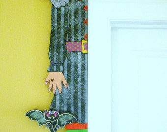 "Halloween WOOD PATTERN-""Winnie"" Door Hugger""  42"" Tall"