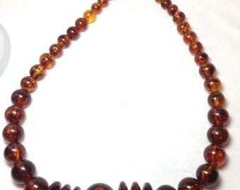Vintage Amber Color Necklace, Single  Strand