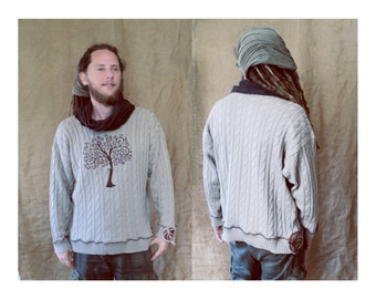 Tree of life  leave leaf woodland earthy psychedelic pagan native  sweater pullover hippie