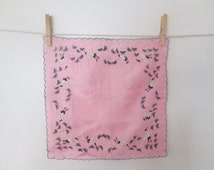 Vintage Silk Scalloped Japanese Crane Embroidered Hankie, Pocket Square