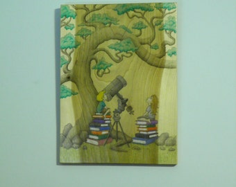 The Telescope - Original Wood Panel Art