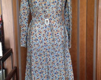 Antique Vintage 20s 30s Art Deco Print Silk Organza Dress Small to Medium Wearable