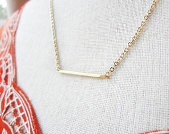 Gold Bar Necklace, Dainty Sideways Bar Pendant, Skinny Bar Necklace, Minimal Jewelry, Long Horizontal Layering Necklace, Matchstick Necklace