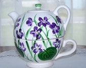 Tea Pot /Cup with Hand Painted Violets