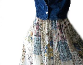 Vintage Denim Vest  Cropped  Jean Jacket . Boho Chic. Farm girl. Small -Medium