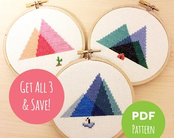Minimal Mountains - Get All 3 & Save! - Modern Geometric Cross Stitch - Embroidery PDF Patterns #001, #002, #003