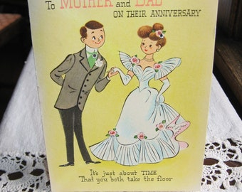 1950s Anniversary Waltz Gibson Greeting Card Mother Dad, Vintage Yellow Pink Glitter, 3D Pop Up Dancing Couple in White Wedding Dress!