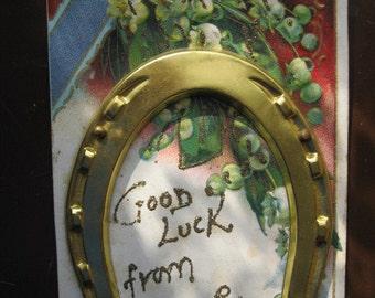 Antique 3D Novelty Glittered Postcard - Good Luck From Beaver Creek Minnesota circa 1910 - Gold Metal Horseshoe - Midwest Travel Memorabilia