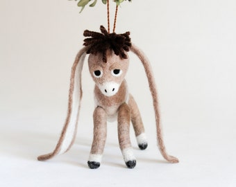 Christmas Ornament - Nestor - The small Long-Eared Christmas Donkey. Art Toy Felted baby donkey gift for kids.