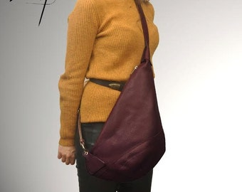 Leather  handmade cross body sling bag-Korina in Bordeaux. MADE TO ORDER