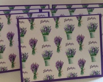 Lavender Notes, Lavender Note Cards, Lavender Stationery Set, Floral Stationery, Purple, 6 Cards and Envelopes