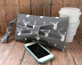 Deer Bow Clutch Purse, Grey Purse, Small Purse, Clutch Bag, Wristlet Purse, Grey Deer Clutch, Zippered Pouch, Tiny Purse, Clutch Purse