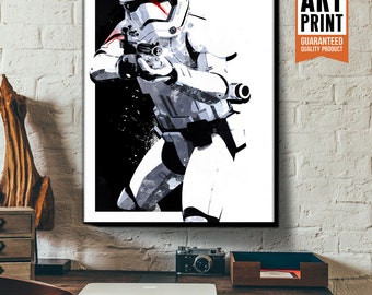 Star Wars Canvas - Finn FN-2187 Stormtrooper - Star Wars Art, large Canvas Art Print, fan art illustration available in multiple sizes.