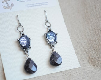 Stardust and Lace earrings- Faceted glass and sunstone, Faceted gemstone earrings, Gunmetal and navy blue, outer space earrings