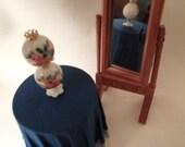DOLLHOUSE FURNITURE / Chrysnbon / Table / Tablecloth / Lamp / Mirror / Barbie Doll Accessories / Art Project / Miniatures / Retro / Diorama