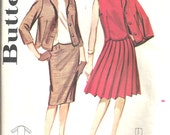 1960s Butterick  Pattern 9942  Womens Pencil Skirt, knife pleated, skirt, jacket,  Over Blouse Suit  Size 12 Bust 32 Clearance Sale
