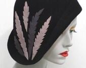 Asymmetrical black wool felt cloche hat with wool felt hand cut feather detail - flapper style cloche hat