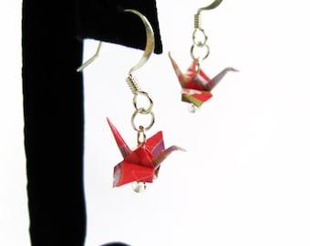 "Tiny Origami Crane Earrings Geo Pink 3/4"""