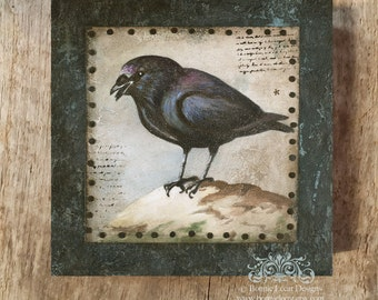 Blackbird Painting, Original Acrylic Painting of a Black Crow, Raven Painting, Vintage Style Original Art, Crow Painting, Black Bird Art