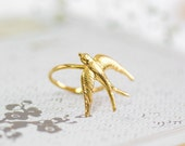 Gift For women, Gold ring,Gold Swallow Ring,Gold Bird Ring,Art Nouveau Jewelry,Flying BIRD Ring,Wedding Gold Ring