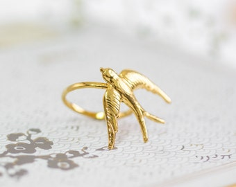 Gold Swallow Ring, Gift for Her, Gold Boho Ring, Gold Bird Ring, Art Nouveau Jewelry, Flying Bird Ring, Wedding Gold Ring, Nature Inspired