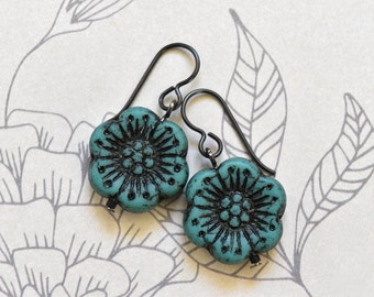 Turquoise Flower Earrings, Boho Earrings, Niobium Jewellery, Hypoallergenic Earrings UK, Gift for Her