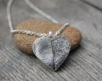 Customized Fine Silver Paw Pad and Fingerprint Heart Necklace