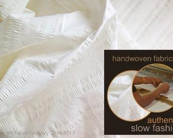 "Soft Cotton Fabric. White dress fabric. Seersucker organic cotton fabric for shirts, dress etc. SAVVY SEERSUCKER in Sugar Fairy. 36"" wide."