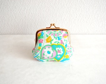 Pastel paisley tiny coin purse - OOAK - floral, retro, baby color. Handmade in Japan. Ready to ship.