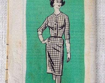Anne Adams 4593 Vintage sewing pattern Dress 1960s shirtwaist shirtwaist wiggle housewife Dress Bust 40 Large