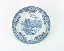 """Johnson Brothers Coaching Scenes Blue Bread Plate 6"""""""